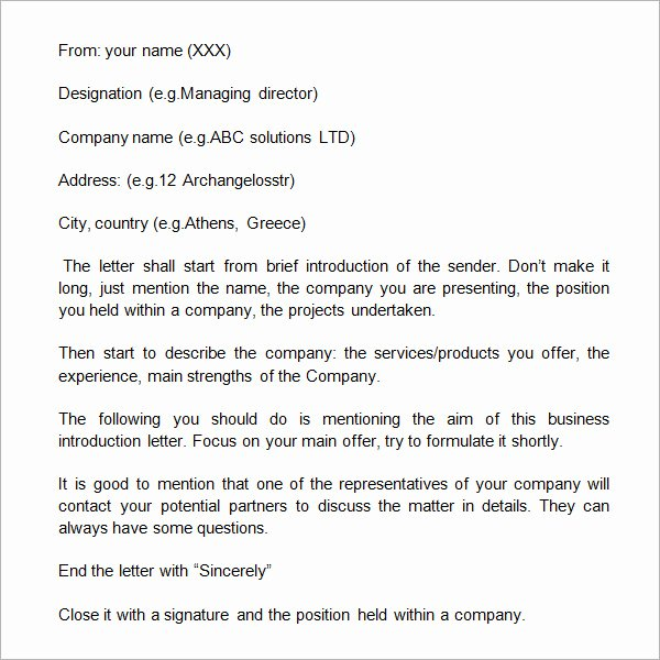 Business Introduction Letter Template Inspirational 18 Sample Business Introduction Letters Pdf Do9