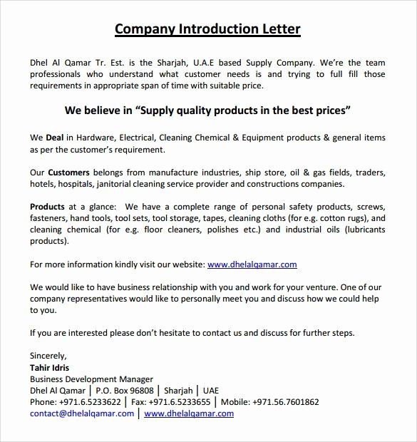Business Introduction Letter Template Inspirational Image Result for Manufacturing Pany Introduction Letter