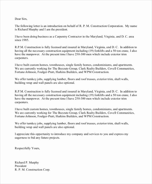 Business Introduction Letter Template Lovely 18 Sample Business Introduction Letters Pdf Do9