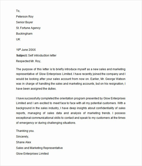 Business Introduction Letter Template Lovely 30 Sample Introduction Letters to Download for Free