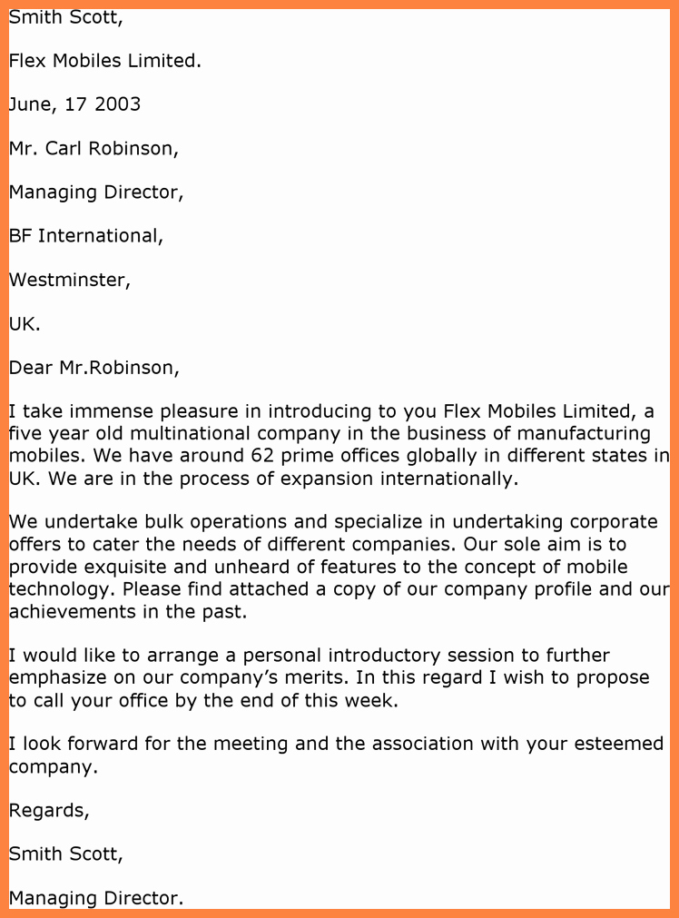 Business Introduction Letter Template Lovely 7 Sample Introduction Letter for Pany Profile