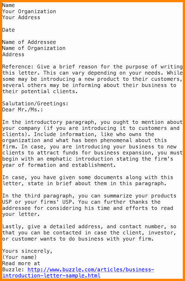 Business Introduction Letter Template Lovely 7 Sample Of Business Introduction
