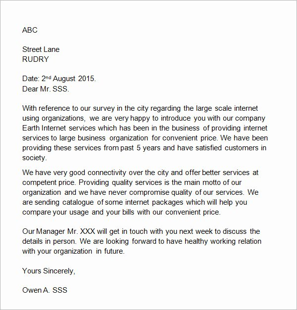 Business Introduction Letter Template Luxury 18 Sample Business Introduction Letters Pdf Do9
