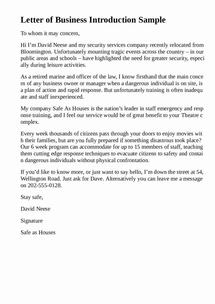 Business Introduction Letter Template New 5 Business Introduction Letter Templates formats