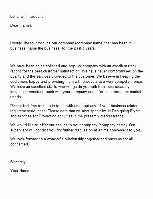 Business Introduction Letter Template Unique 40 Letter Of Introduction Templates & Examples