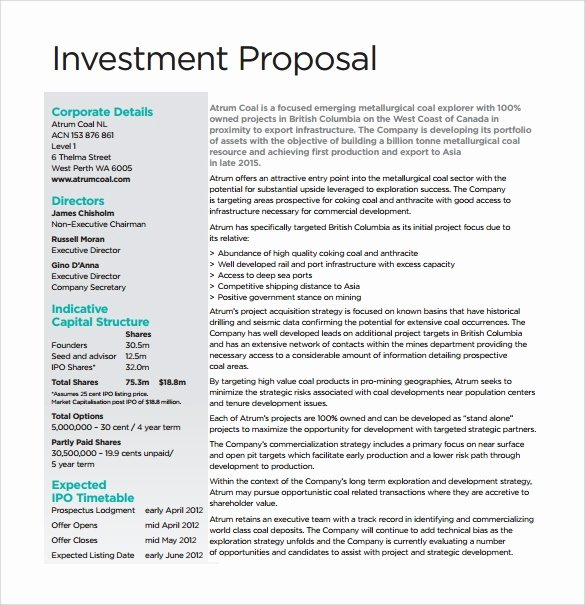 Business Investment Proposal Template Beautiful 18 Investment Proposal Samples