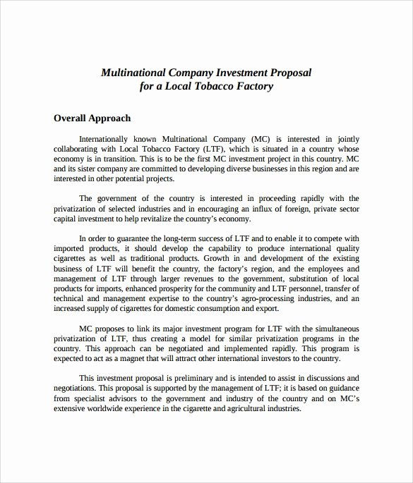 Business Investment Proposal Template Best Of 18 Investment Proposal Samples