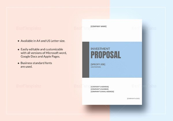 Business Investment Proposal Template Fresh Investment Proposal Templates 17 Free Sample Example