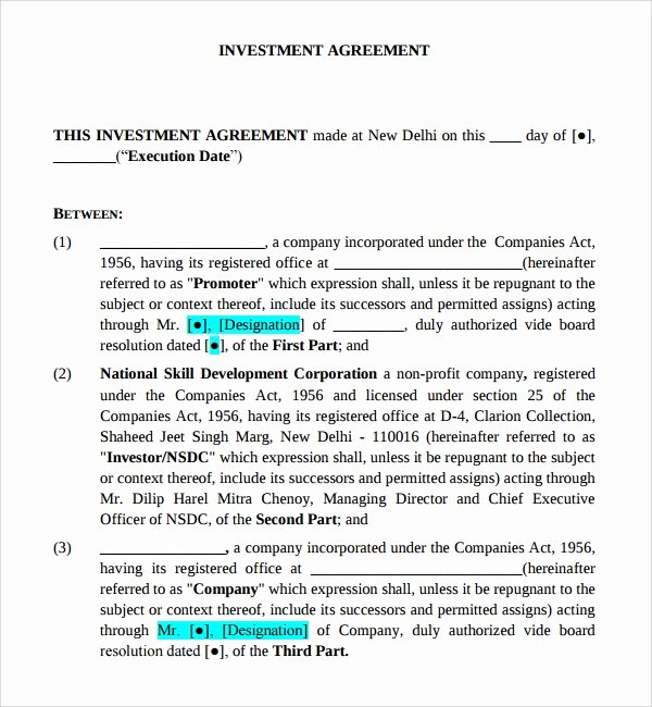 Business Investment Proposal Template Lovely 12 Business Investment Agreements
