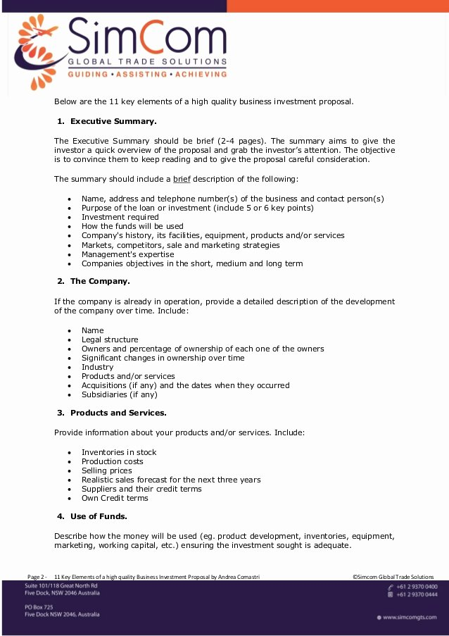 Business Investment Proposal Template Unique 11 Key Elements Of A High Quality Business Investment Proposal