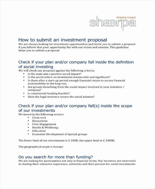 Business Investment Proposal Template Unique 9 Small Business Investment Proposal Samples & Templates