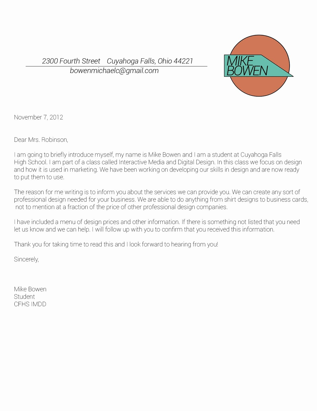Business Letter Template with Logo Fresh Grizz Marketing