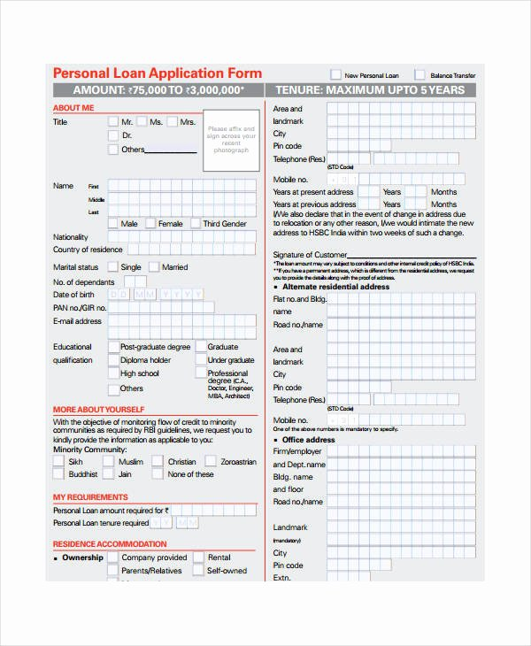 Business Loan Application Template Inspirational Personal Loan Agreement 10 Free Pdf Word Documents