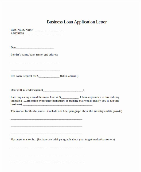 Business Loan Application Template Luxury 36 Application Letter Samples