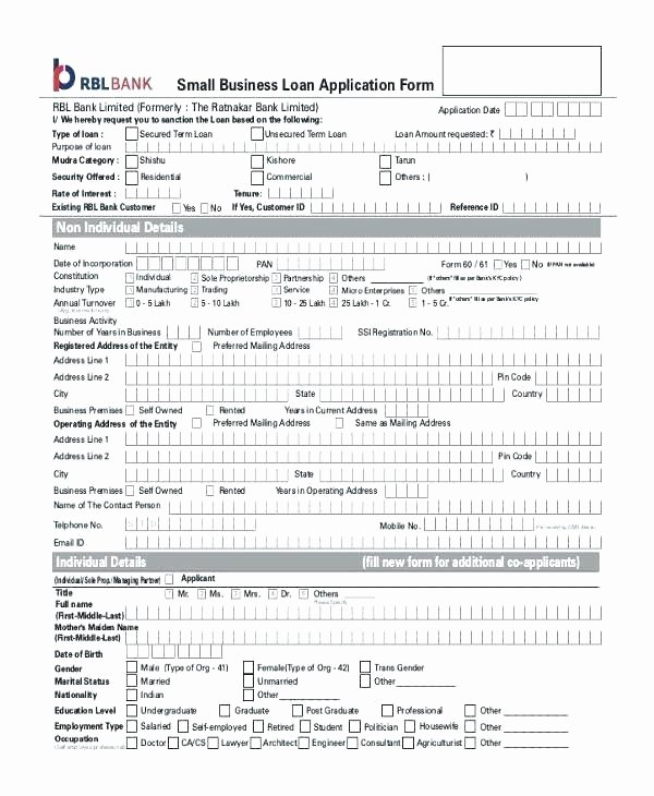 Business Loan Application Template Unique Personal Loan Application form Template Free Download Best