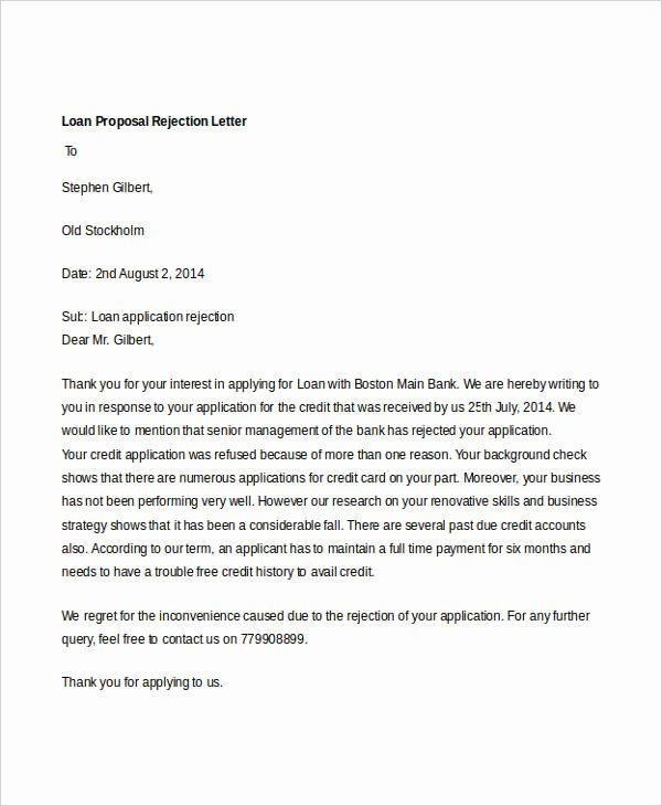 Business Loan Proposal Template Beautiful 8 Proposal Rejection Letter Templates 7 Free Word Pdf