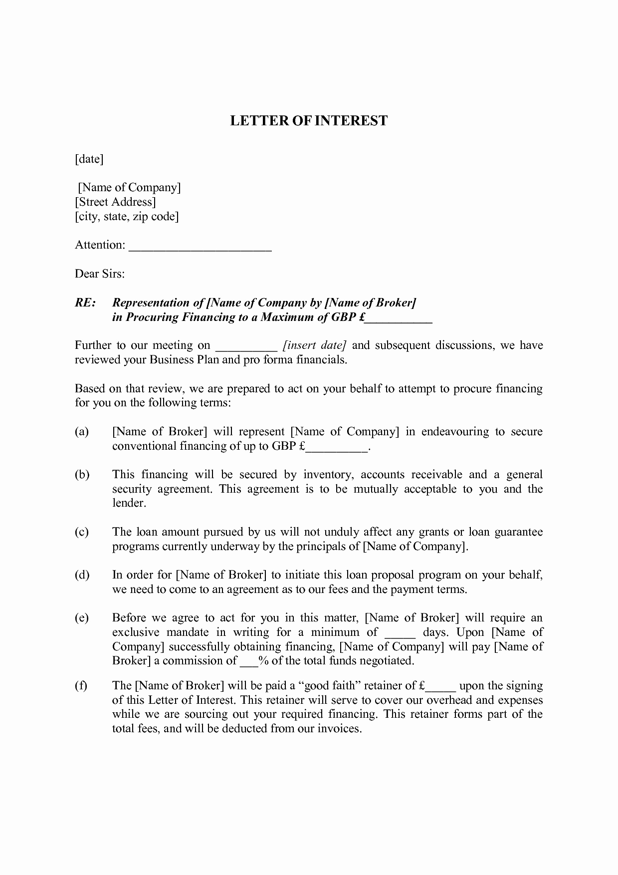 Business Loan Proposal Template Elegant Business Letter Intent Example Mughals