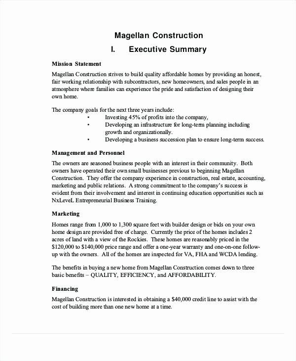 Business Loan Proposal Template Elegant Construction Executive Summary Template – Vitaesalute
