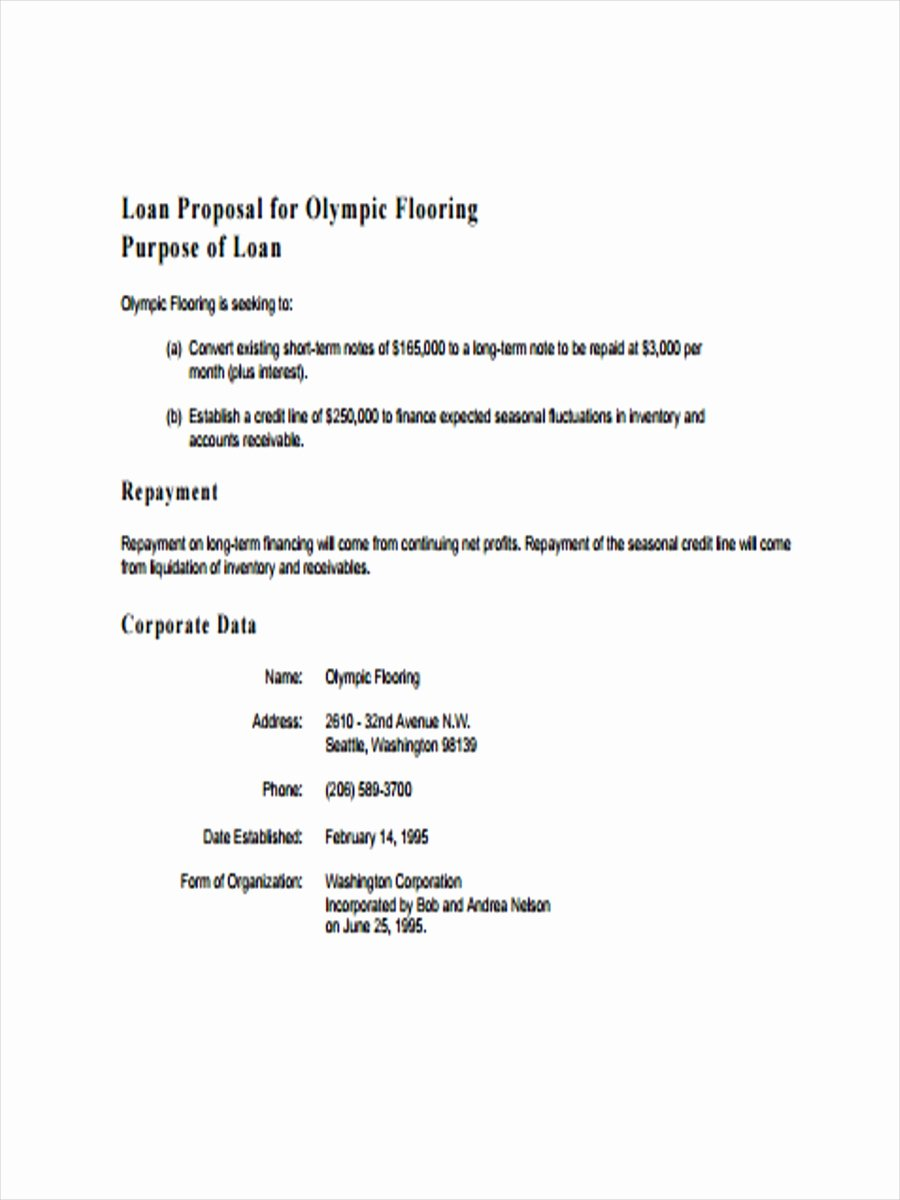 Business Loan Proposal Template Lovely 9 Loan Proposal Examples Pdf