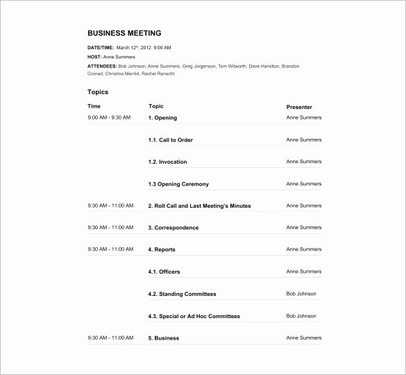 Business Meeting Agenda Template Elegant Agenda Template – 24 Free Word Excel Pdf Documents