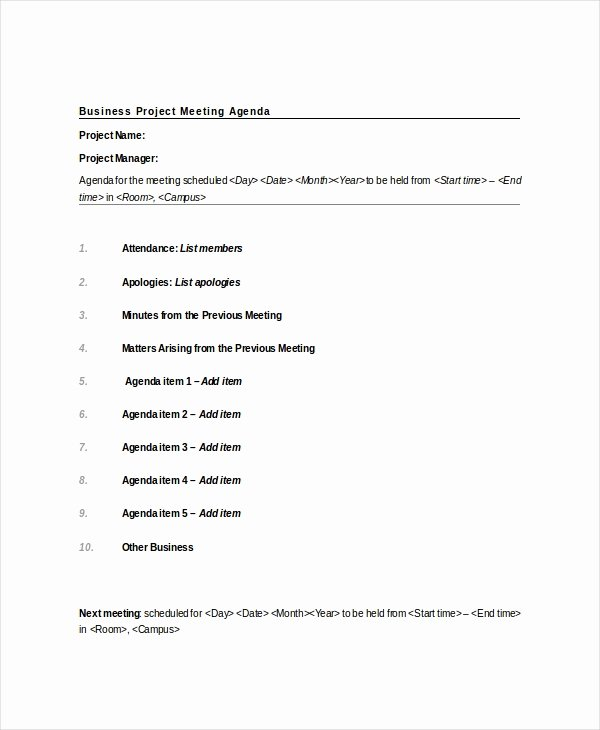 Business Meeting Agenda Template Fresh 9 Project Meeting Agenda Template Word Pdf