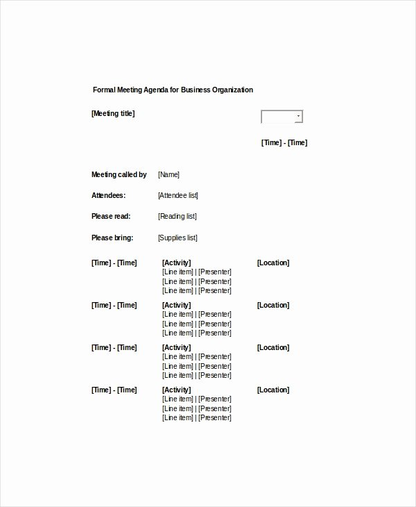 Business Meeting Agenda Template Lovely 9 formal Meeting Agenda Templates Pdf Doc