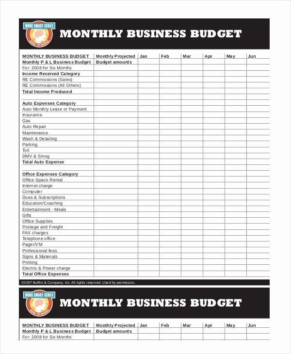 Business Monthly Budget Template Unique Business Monthly Bud Template 18 Monthly Bud
