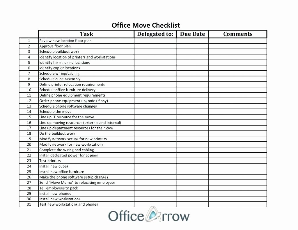 Business Moving Checklist Template Awesome Template Startup Checklist Template
