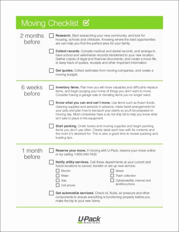 Business Moving Checklist Template Elegant 12 Moving Checklist Samples & Templates