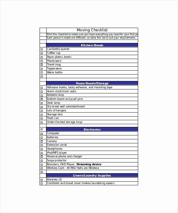 Business Moving Checklist Template Elegant Moving Checklist Template 20 Word Excel Pdf Documents