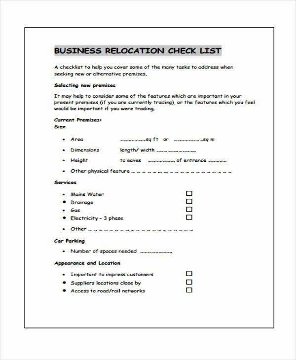 Business Moving Checklist Template Lovely Business Checklist Templates 10 Free Word Pdf format