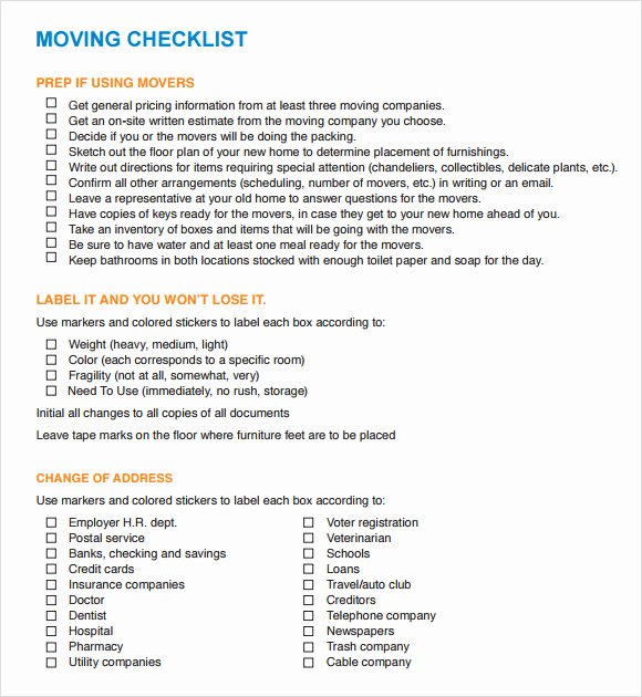 Business Moving Checklist Template Unique 12 Moving Checklist Templates