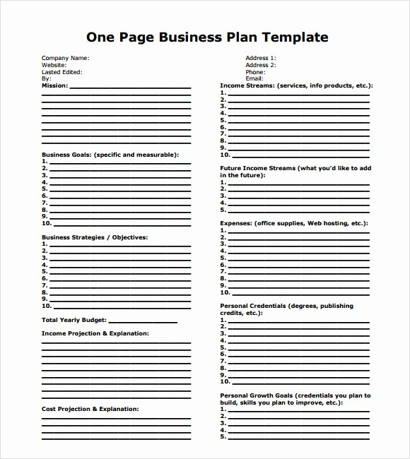 Business One Sheet Template Awesome 10 E Page Business Plan Samples