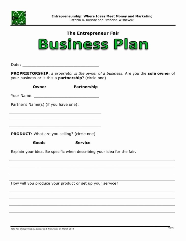 Business One Sheet Template Beautiful E Page Business Plan Template