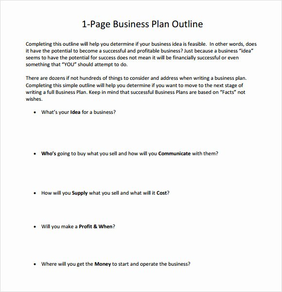 Business One Sheet Template Lovely E Page Business Plan Template