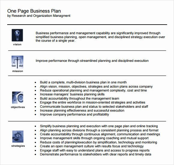 Business One Sheet Template New 10 E Page Business Plan Samples