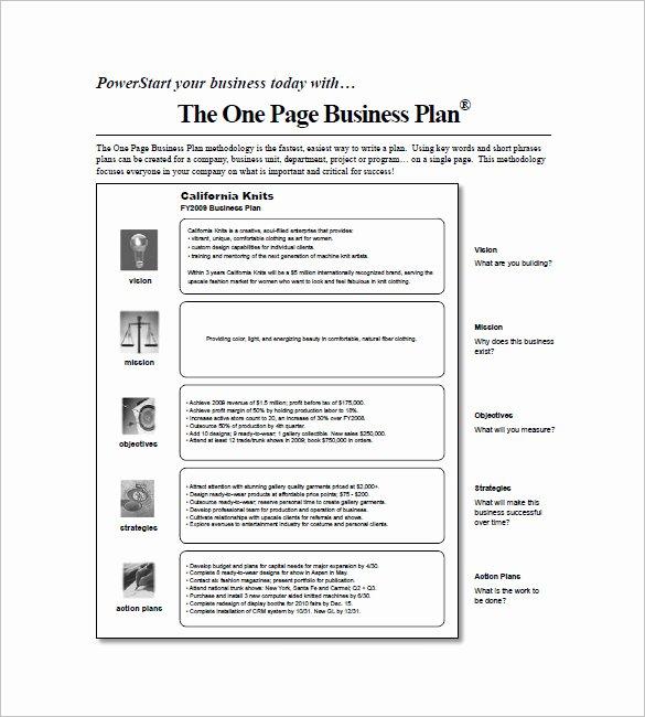 Business One Sheet Template New Business Plan Word Vorlage One Page Business Plan Template