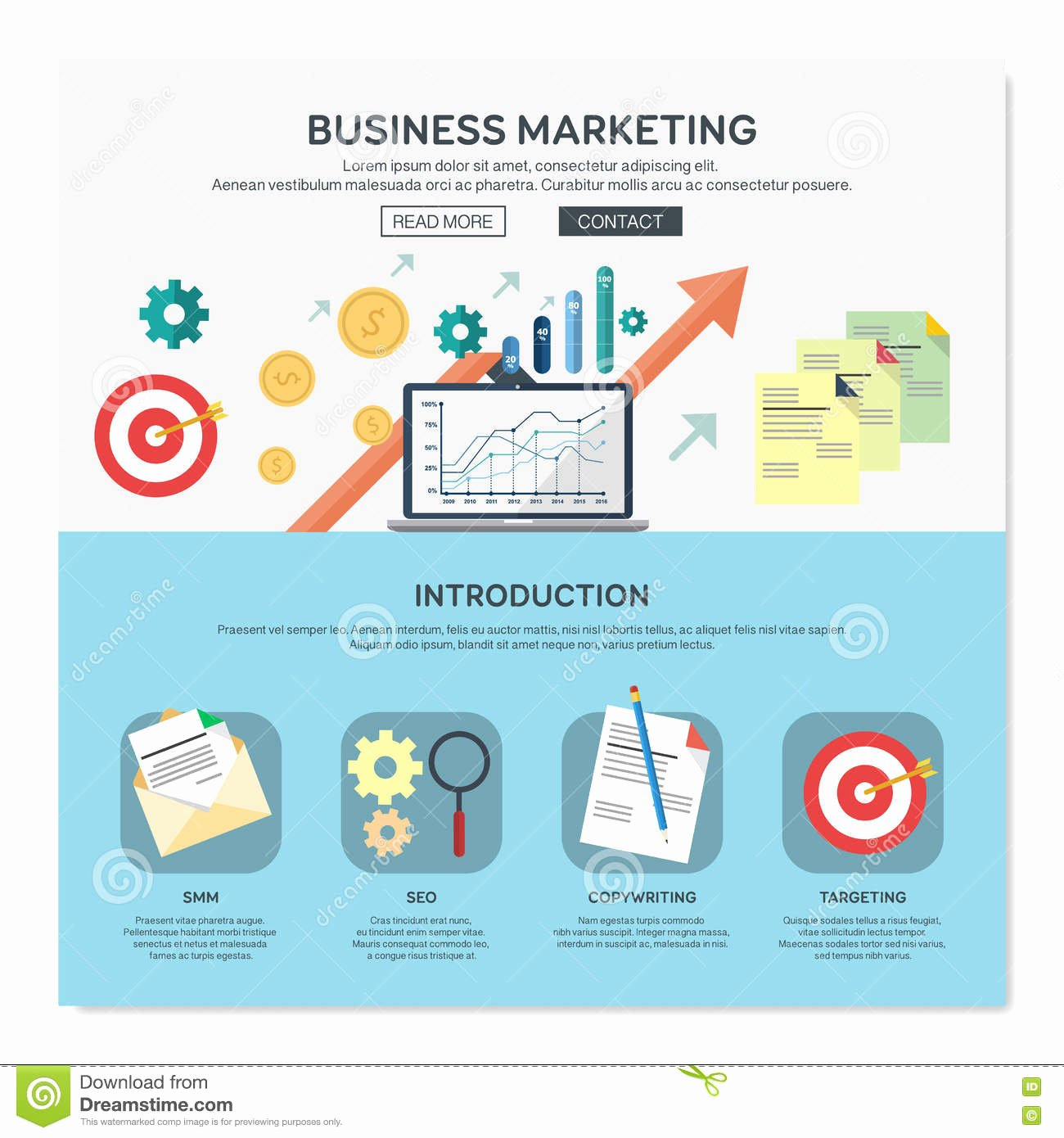 Business One Sheet Template New E Page Web Design Template Stock Vector Illustration
