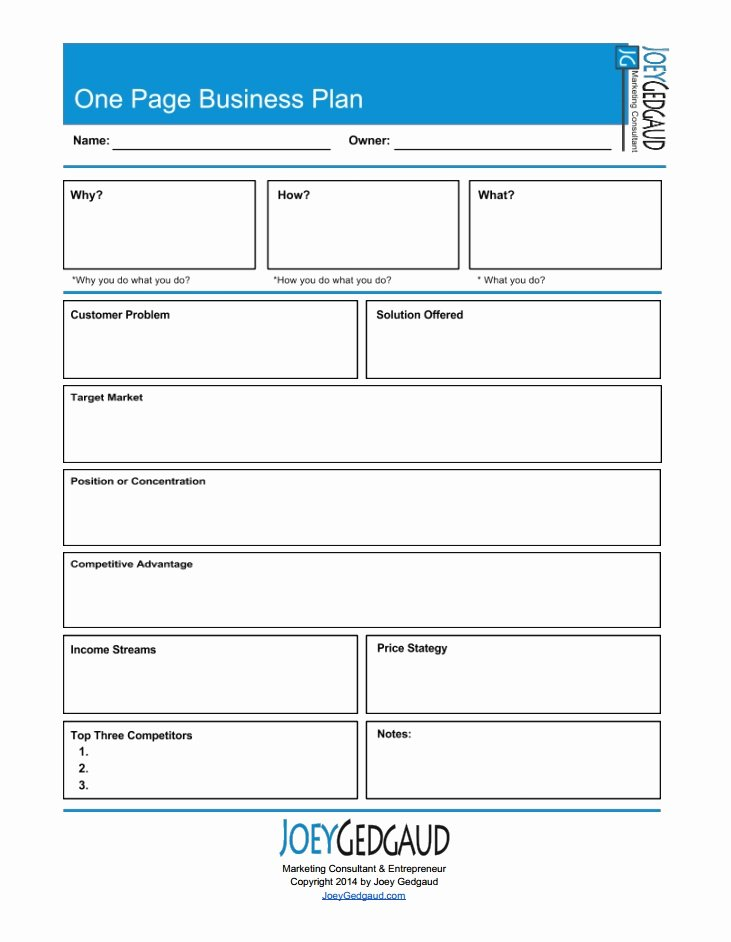 Business One Sheet Template Unique E Page Business Plan Template