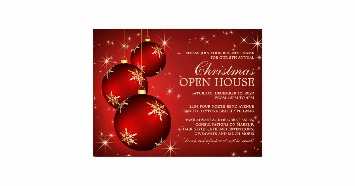 Business Open House Invitation Template Inspirational Elegant Christmas Open House Invitation Template Postcard
