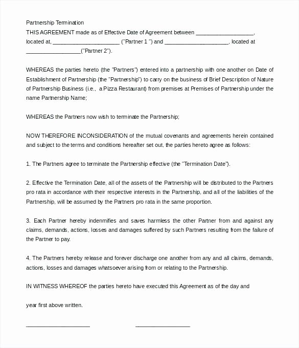 Business Partnership Separation Agreement Template Awesome Letter Contract Cancellation Business Termination