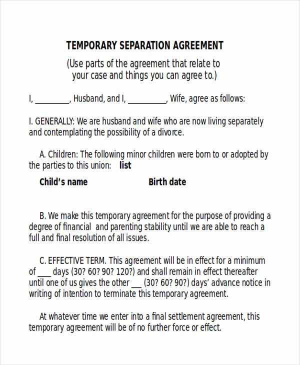 Business Partnership Separation Agreement Template Best Of 9 Sample Separation Agreements