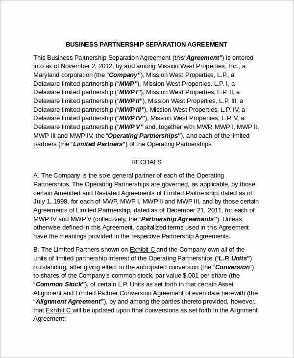 Business Partnership Separation Agreement Template Fresh 9 Business Separation Agreement Templates