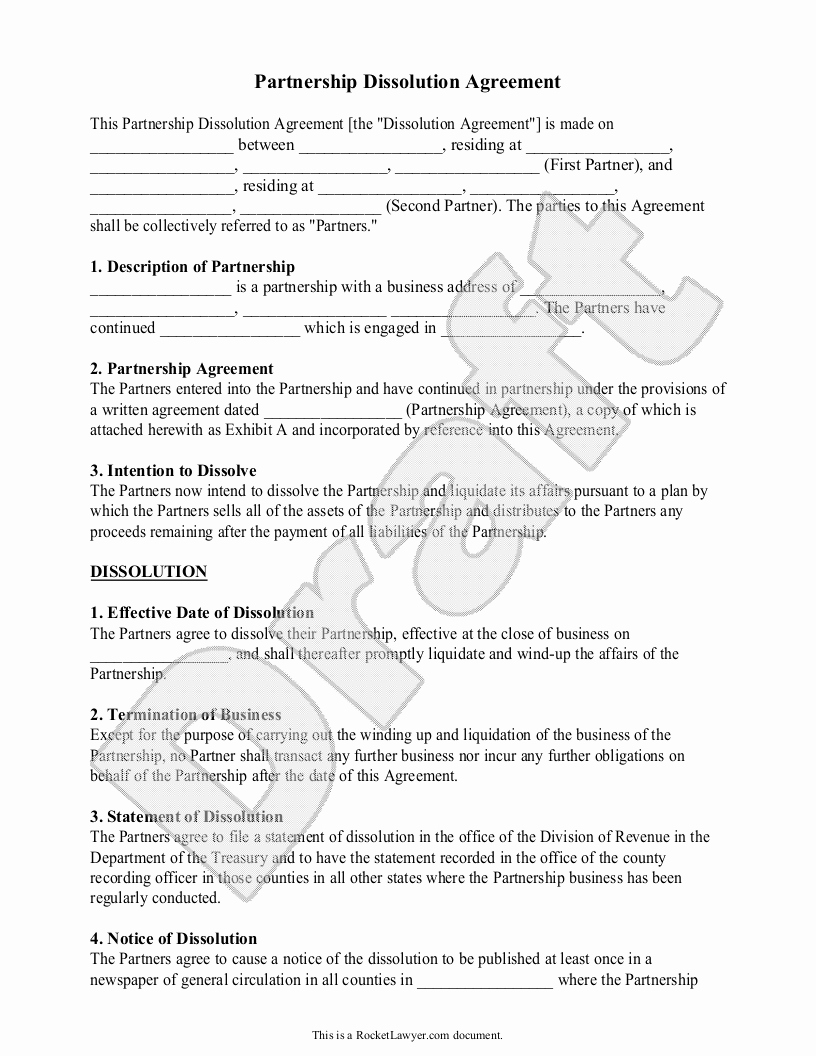 Business Partnership Separation Agreement Template Inspirational Agreement Partnership Agreement form