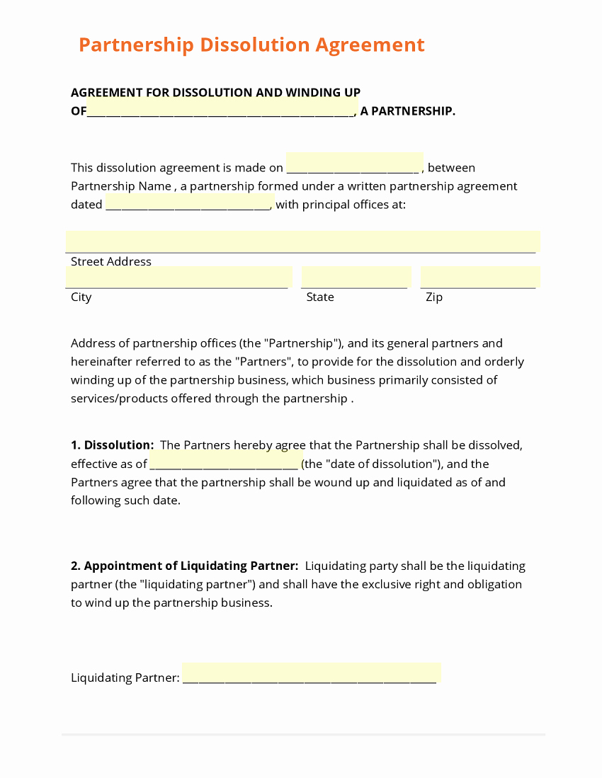 Business Partnership Separation Agreement Template Inspirational Business form Template Gallery