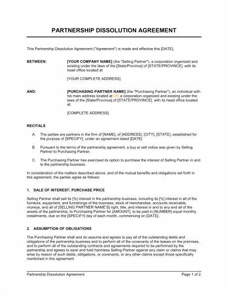 Business Partnership Separation Agreement Template Lovely Business Partnership Separation Agreement Template