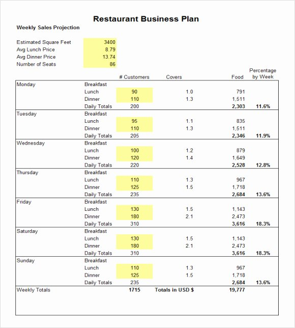 Business Plan Budget Template Luxury Restaurant Bud Template
