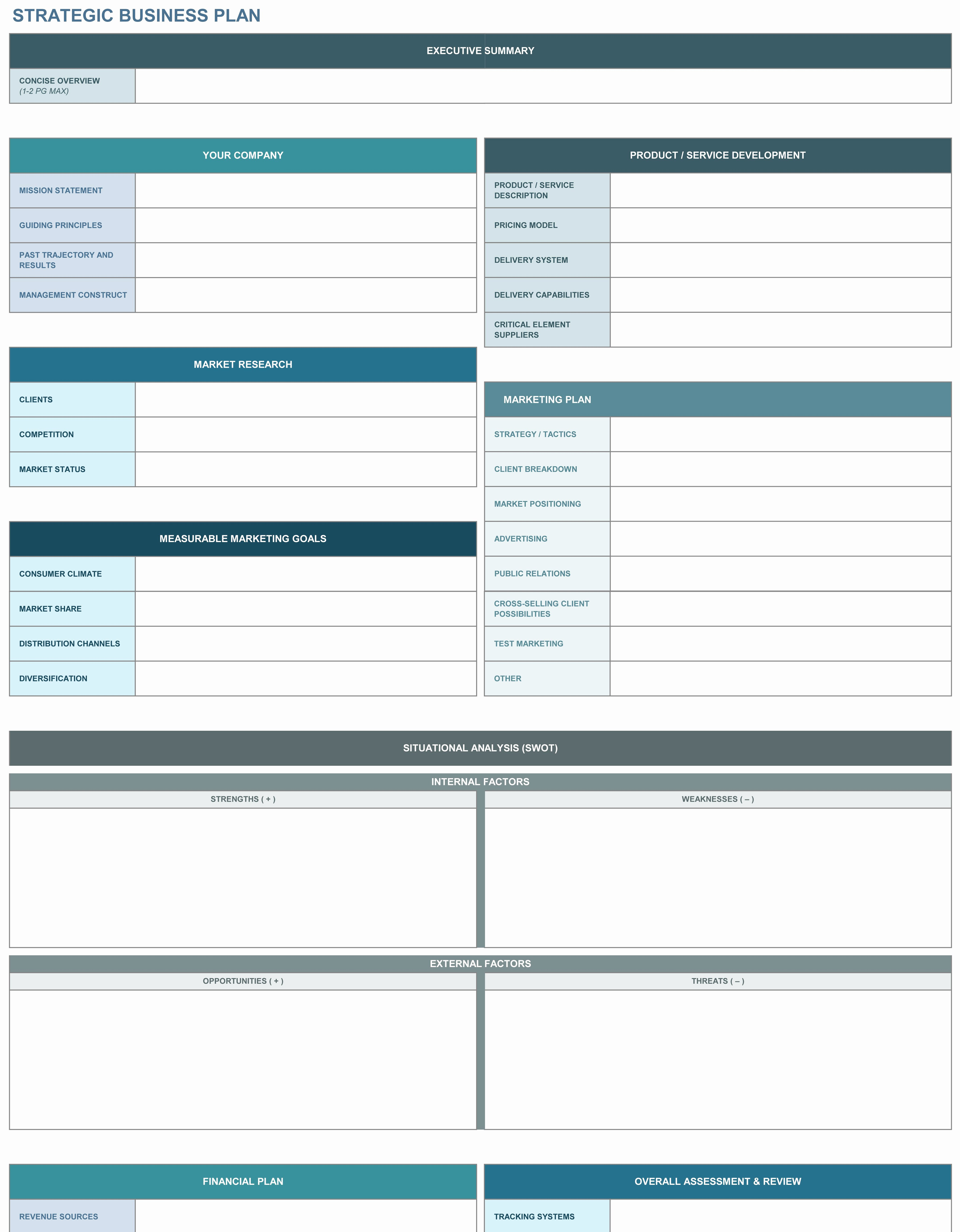 Business Plan Template Excel Fresh 9 Free Strategic Planning Templates Smartsheet