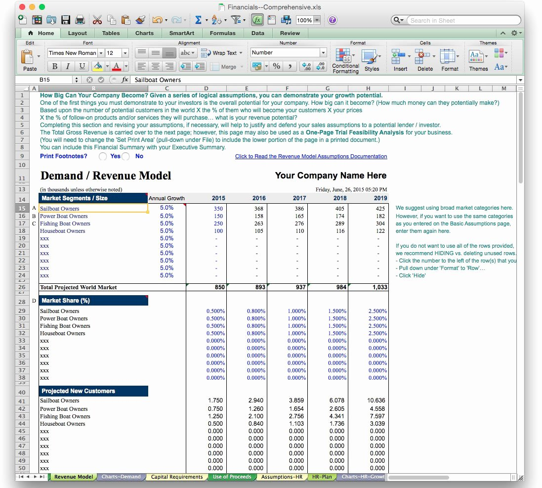 Business Plan Template Excel New Business Plan Financial Model Template Bizplanbuilder
