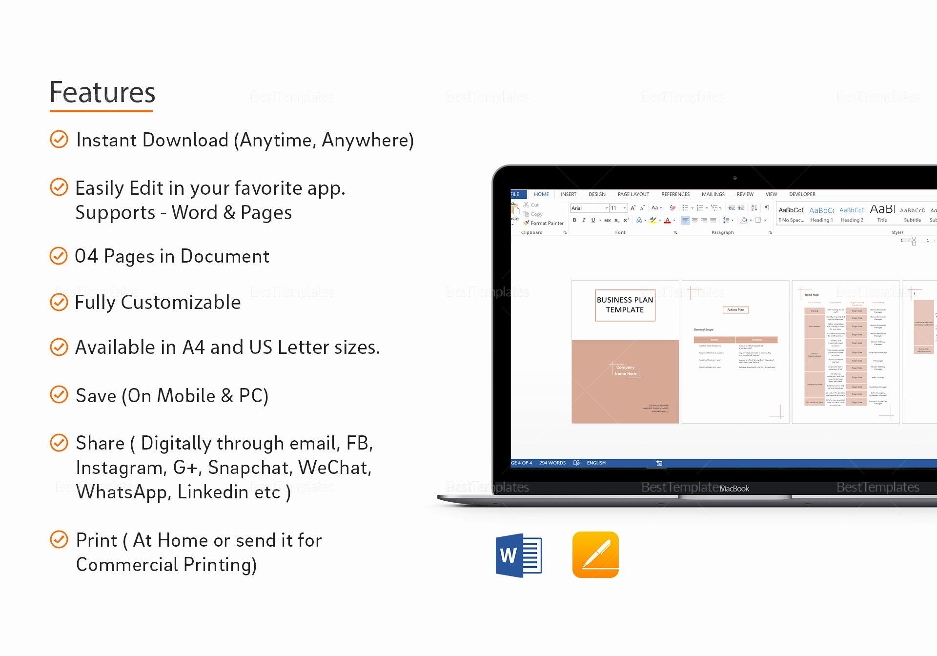 Business Plan Template Pages Mac New Business Plan Template In Word Google Docs Apple Pages